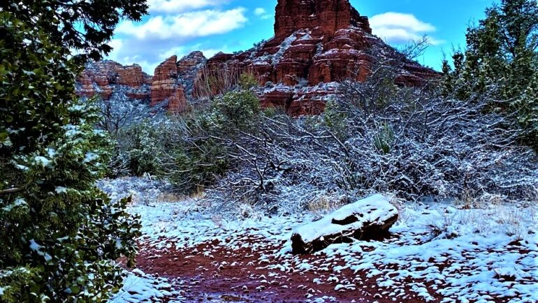 Beautiful Bell Rock in the Snow from Middle Trail, Sedona, AZ