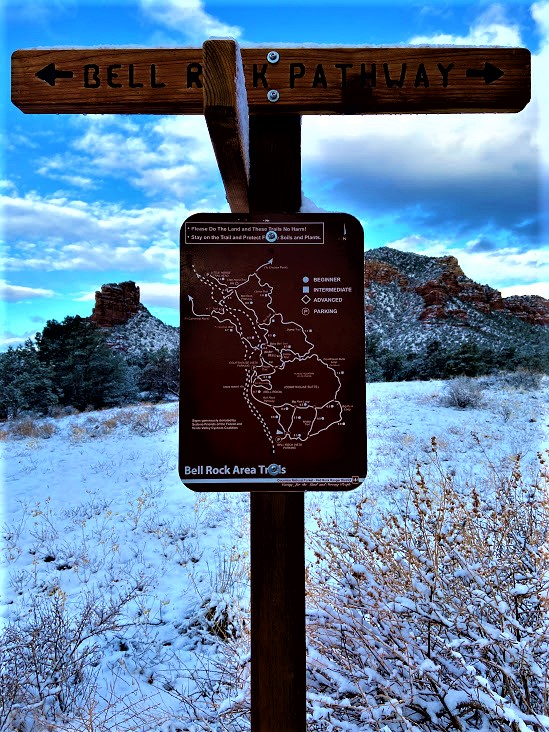Bell Rock Pathway Sign With Castle in the Background, Sedona, AZ
