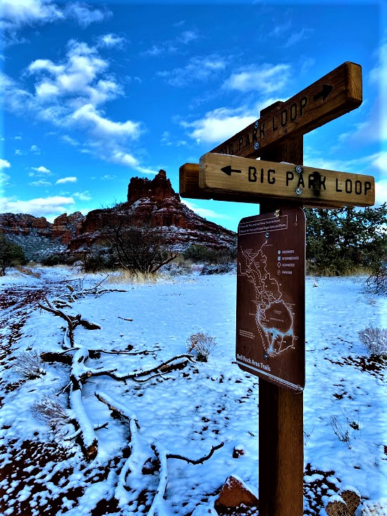 Big Park Loop Sign at Courthouse Crossing With Bell Rock View, Sedona, AZ