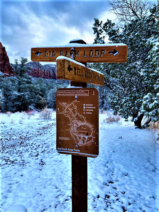 Big Park Loop Sign With Lee Mountain in the Background, Sedona, AZ