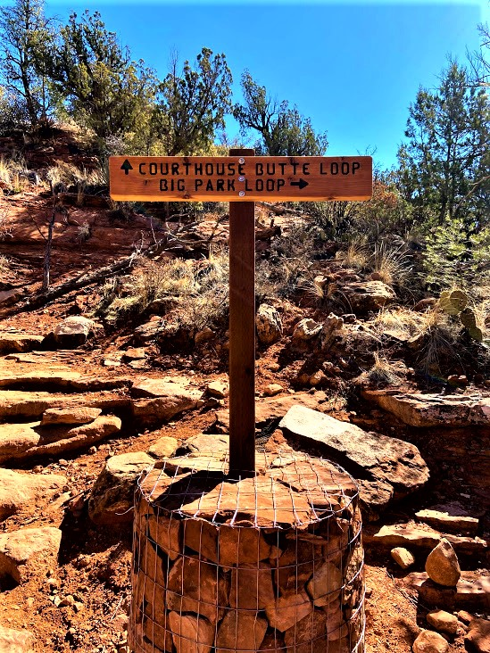 Courthouse Butte Trail and Big Park Loop Trail Sign