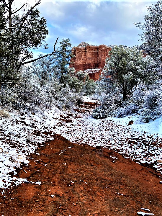Creek Crossing With Courthouse Butte in Background, Sedona, AZ