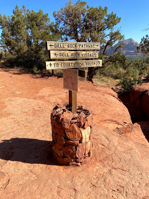 Bell Rock Pathway Cairn and Trail Sign Sedona AZ